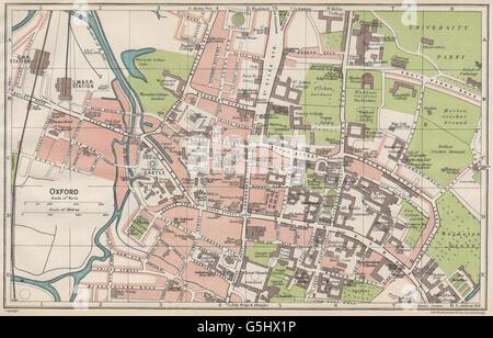 OXFORD antique town city plan Colleges Oxfordshire BAEDEKER 1927