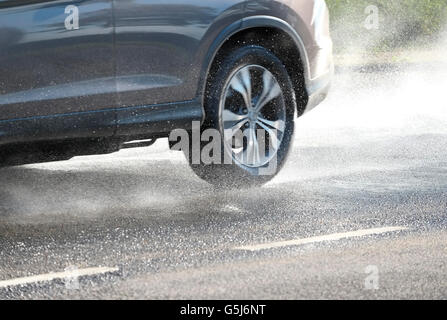driving on wet road - Stock Photo