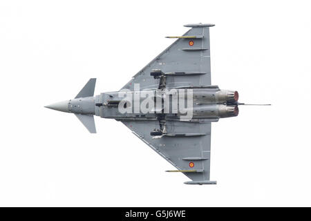 LEEUWARDEN, THE NETHERLANDS - JUNE 10: Spanish Air Force Eurofighter Typhoon flying during the Dutch Air Force Open - Stock Photo