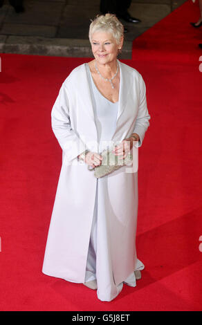 Dame Judi Dench arriving for the world premiere of Skyfall, at the Royal Albert Hall in London. - Stock Photo