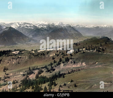 Aussicht von Rigi Kulm auf die Berner Alpen in der Schweiz, ca. 1910er Jahre. View from Rigi Kulm to Bernese Alps - Stock Photo