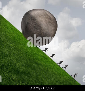 Corporate pressure business concept as a huge boulder rock rolling down a hill with running businesswomen and businessmen - Stock Photo