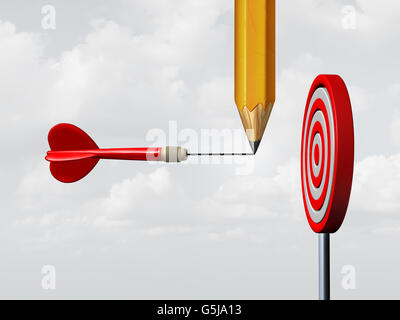 Success consulting concept and business marketing advice system as a pencil drawing on a flying dart an extended - Stock Photo