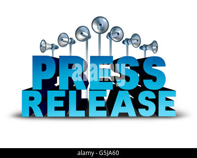 Press release news reporting and public relation communication concept as 3D illustration text with bullhorn or - Stock Photo