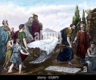 Die Bestattung der heiligen Caecilia, mit dem Trauerzug vor ihrer Katakombe in Rom, Italien. Funeral procession of St. Cecilia in front of her tomb at Rome, Italy.