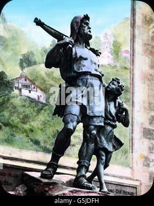 Der Schweizer Nationalheld Wilhelm Tell mit seinem Sohn Walter, Denkmal in Altdorf, Schweiz, 1920er Jahre. Swiss - Stock Photo