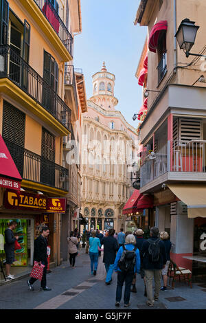Vertical street view of the Can Corbella Building in Palma, Majorca. - Stock Photo