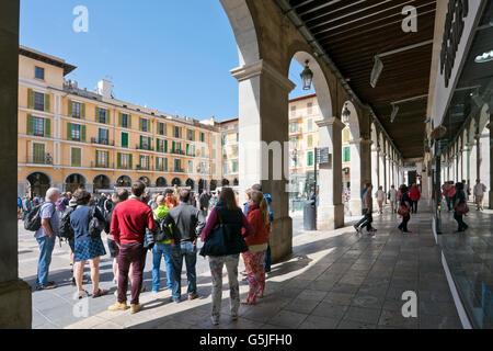 Horizontal view of Plaza Mayor or Plaça Major in Palma, Majorca. - Stock Photo