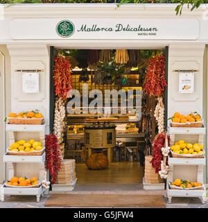 Square view of a typical Mallorcan delicatessen in Palma, Majorca. - Stock Photo