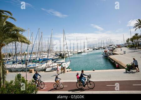Horizontal view of the marina in Palma, Majorca. - Stock Photo