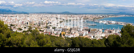 Horizontal panoramic (3 picture stitch) aerial cityscape of Palma, Majorca. - Stock Photo