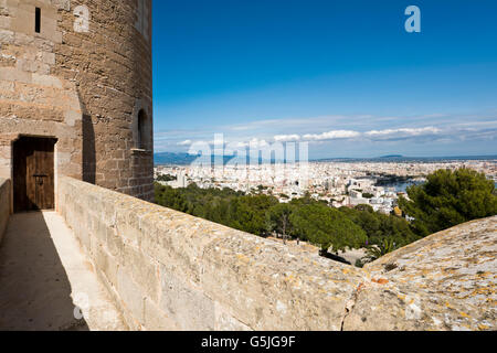 Horizontal view from the keep at Bellver Castle in Palma, Majorca. - Stock Photo