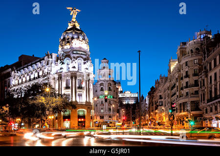 Metropolis building on Gran Via in Madrid - Stock Photo