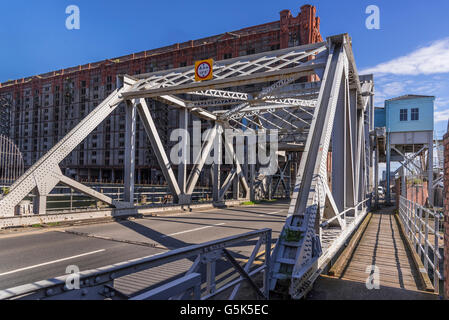 Liverpool Merseyside North West England The bascule bridge at Stanley Dock. - Stock Photo