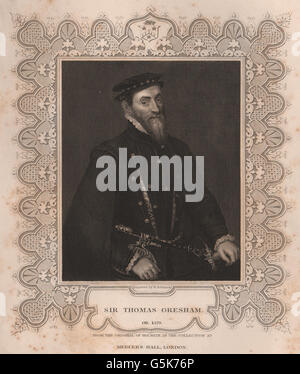 BRITISH HISTORY: Sir Thomas Gresham. TALLIS, antique print 1853 - Stock Photo
