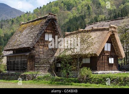 Traditional thatched farmhouses in Ogimachi Folk Village, Hida Shirakawa-go (Shirakawa), Japan - Stock Photo