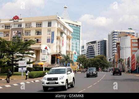 Street view in Kigali city center, Rwanda, Africa - Stock Photo