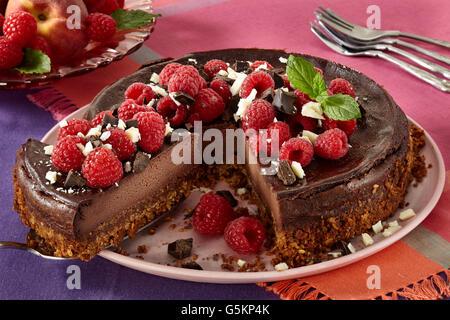 Vegan chocolate cheesecake - Stock Photo
