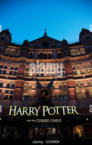 Harry Potter and the Cursed Child Entrance at The Palace Theatre, Shaftesbury Avenue, London at Dusk - Stock Photo