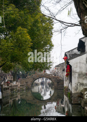 Fuan bridge in Zhouzhuang, Kunshan, Jiangsu province, China. - Stock Photo