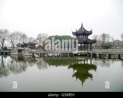A pavilion in Zhouzhuang, Kunshan, Jiangsu, China. - Stock Photo