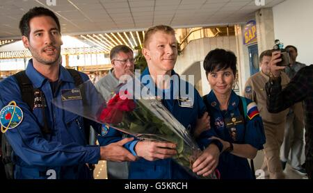 International Space Station crew from Expedition 47 crew European Space Agency astronaut Tim Peake is welcomed as - Stock Photo
