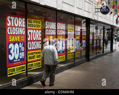 BHS displays a sale promotion in Southport . British Home Stores is set to close in Southport. - Stock Photo