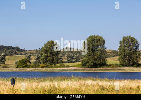 landscape on HIddensee island with lighthouse in background - Stock Photo