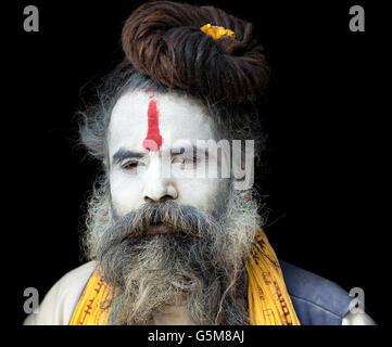 Portrait of Sadhu, holy man, Pashupatinath, Kathmandu, Nepal - Stock Photo