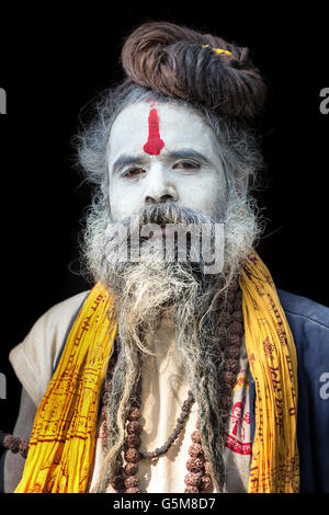 Portrait of Sadhu, holy man, Pashupatinath, Kathmandu, Nepal - Stock Photo