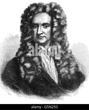 Sir Isaac Newton (1642 – 1726-7) was an English physicist and mathematician (described in his own day as a 'natural - Stock Photo