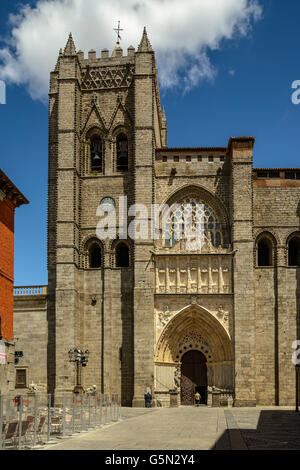 Facade of the gothic cathedral in Avila. Castile and Leon, Spain - Stock Photo