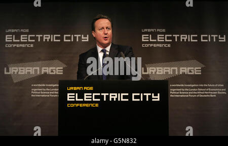 Prime Minister David Cameron speaks at the The Electric City Conference in London.