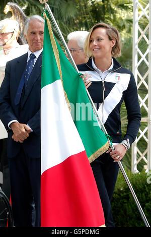 Sergio Mattarella delivers the flag to the standard-bearer Federica Pellegrini Rome 22nd June 2016. Quirinal. The - Stock Photo