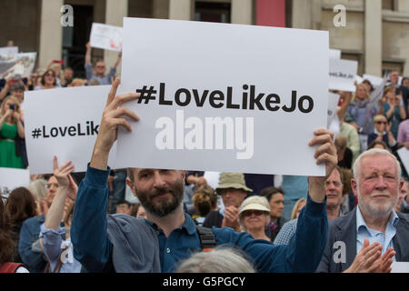 London, UK. 22nd June, 2016. Members of the public hold up placards featuring the hashtag #LoveLikeJo at the 'More - Stock Photo