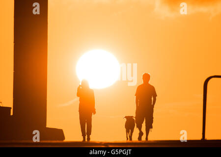 Aberystwyth Wales UK, Wednesday 22 June 2016 UK weather, People walking with their dog along the harbour pier at - Stock Photo