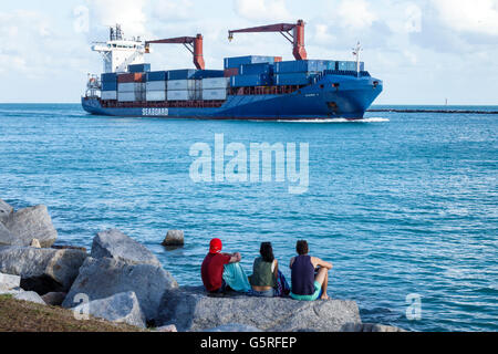 Florida, South, Miami Beach, South Pointe Park, Government Cut, Biscayne Bay, water, Atlantic Ocean, cargo container - Stock Photo
