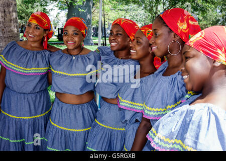 Miami Florida Beach Haitian woman dancers costume outfit clothing folk quadrille karabela dress traditional performers - Stock Photo