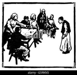 geography / travel, China, politics, Chinese Civil War, 1927 - 1950, woodcut, 'Squire on trial before the people's - Stock Photo