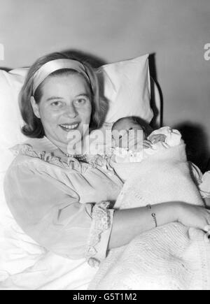 Princess Tomislav of Yugoslavia with her baby daughter Princess Katarina at King's College Hospital, Denmark Hill, London, where she was born last Saturday. The Princess, formerly Princess Margarita of Baden, is the niece of the Duke of Edinburgh. She and Princess Tomislav of Yugoslavia were married in June 1957.