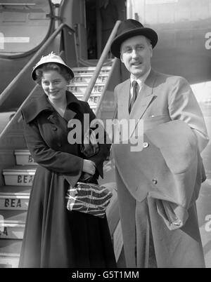 Royalty - Princess Margarita of Baden and her father Prince Bertfold, Margrave of Baden - London Airport