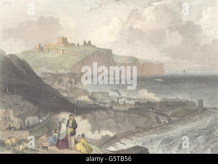 KENT: Dover from Shakespeare's Cliff: Good steel view. Harvey. , print 1850 - Stock Photo