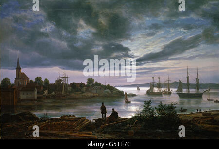 Johan Christian Dahl - Larvik by Moonlight - Stock Photo