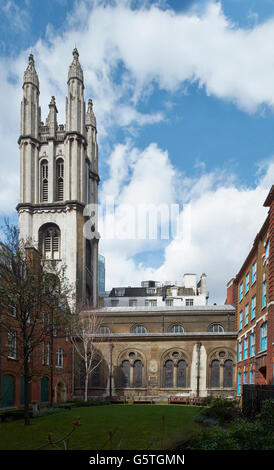 St Michael Cornhill, church in the City of London, rebuilt after the Great Fire of London: tower and south aisle