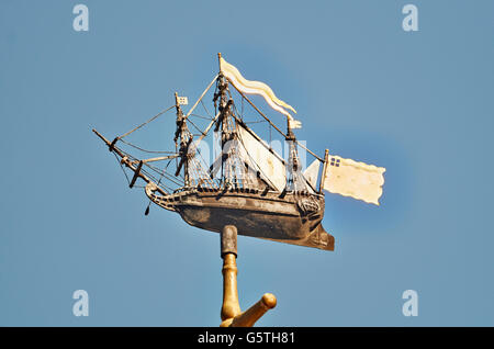 St Nicholas Cole Abbey, church in the City of London;  ship weathervane from St Michael Queenhithe - Stock Photo