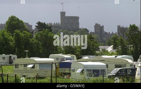 Travellers Camping on Eton College Field - Stock Photo