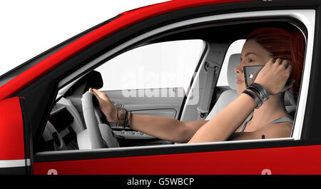 woman with telephone driving in a car , 3d illustration - Stock Photo
