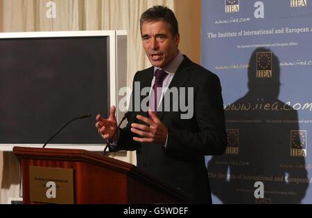 Anders Fogh Rasmussen speech - Stock Photo