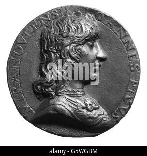 Pico della Mirandola, Giovanni 24.2.1463 - 17.11.1494, Italian philosopher, portrait, medal, by Niccolo Fiorentino, - Stock Photo