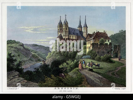 geography / travel, Germany, monasteries, abbey Arnstein at the Lahn, exterior view, steel engraving by L. Thuemling - Stock Photo